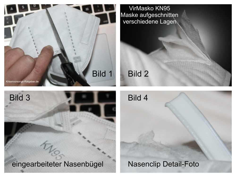 VirMasko Atemschutzmaske KN95 aufgeschnitten - so ist die Virenmaske aufgebaut