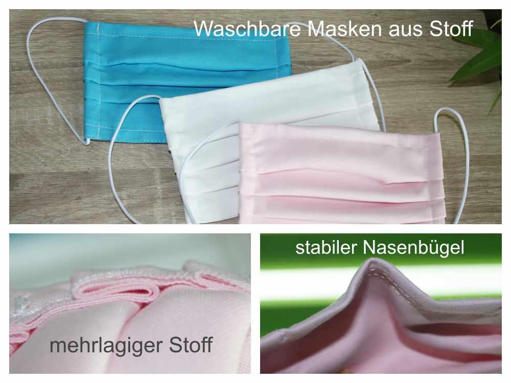 Waschbare Stoffmasken farbig - mit Ohrschlaufe und Nasenbügel